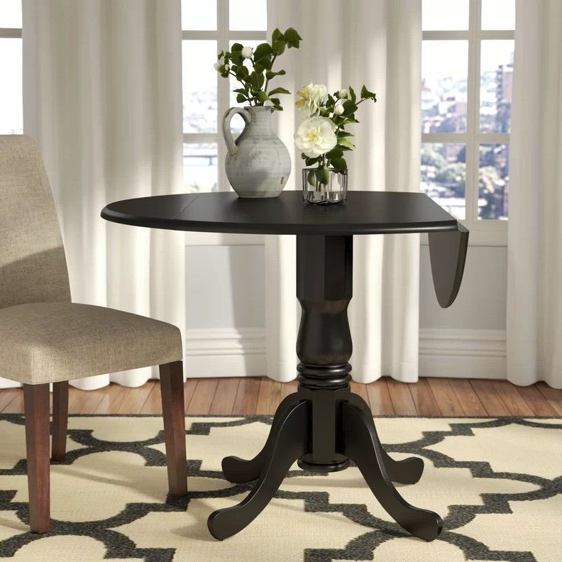 Details about Small Dining Table Drop Leaf Round Kitchen ...