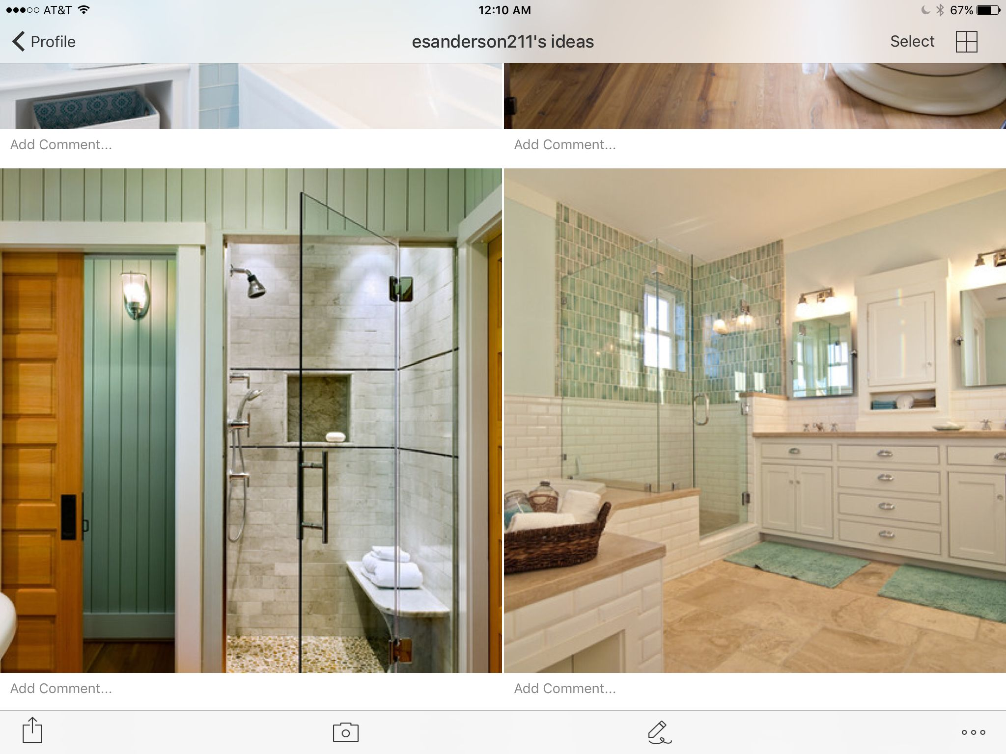 Blue glass wood shower door with black frame bathrooms