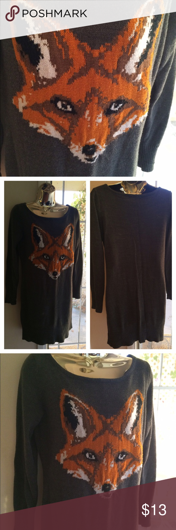 """Foxy Gray Sweater Dress Long gray Fox sweater dress by Xhilaration. Size:  M/M Approx. 34"""" long. Approx. 17"""" pit to pit. No rips, tears, or stains. Fox totem: """"The fox as a spirit guide offers good teachings about getting around obstacles instead of confronting them head to head."""" Thanks for looking! Xhilaration Dresses Midi"""