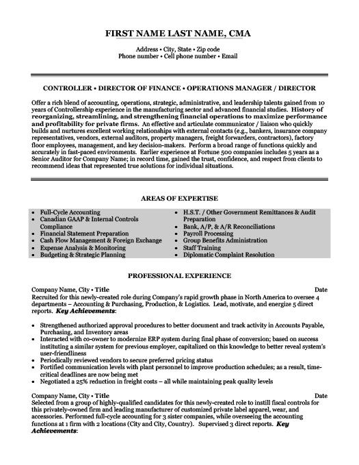 Financial Controller Resume Template  Premium Resume Samples