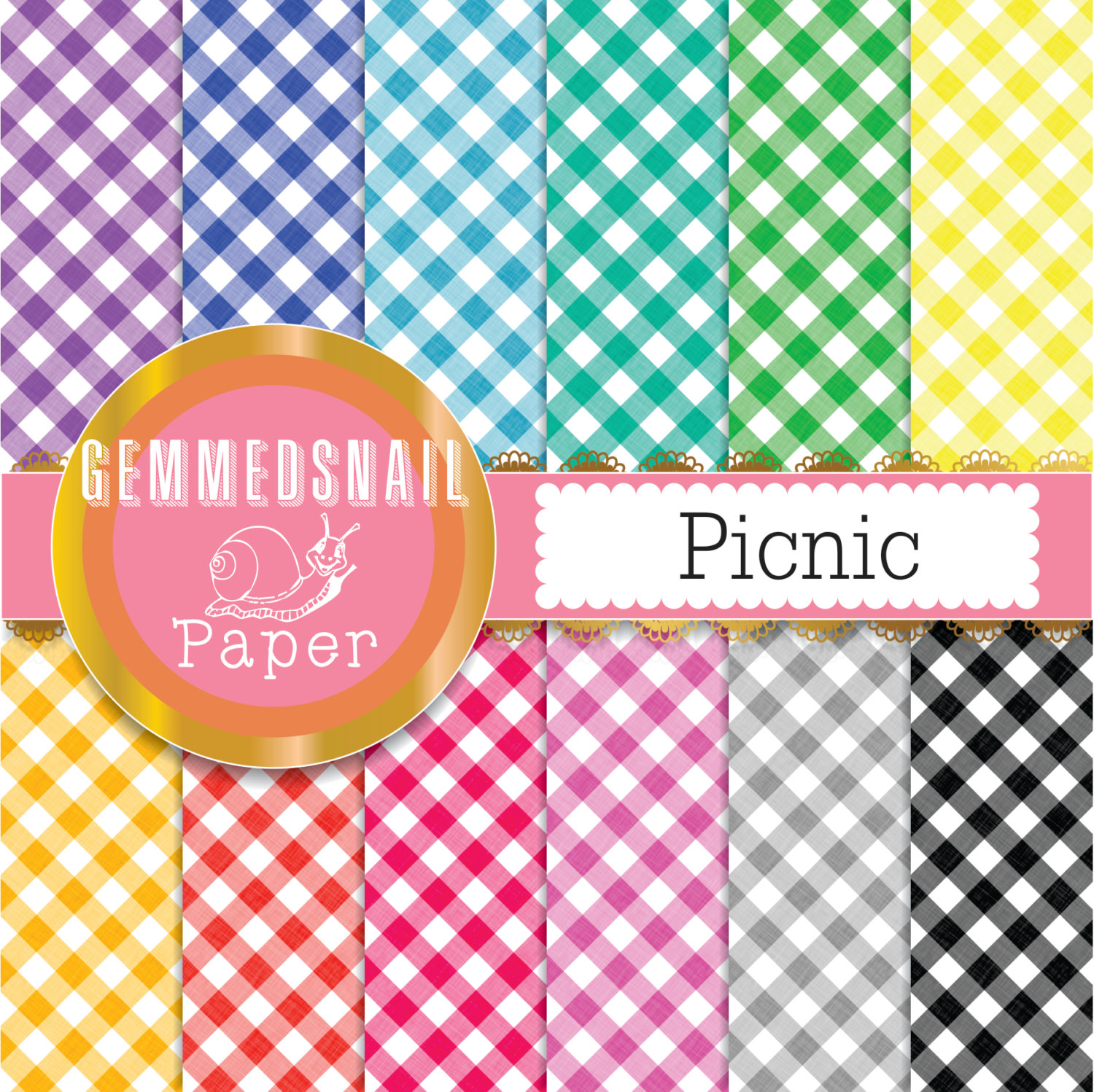Gingham digital paper red, yellow and blue check gingham