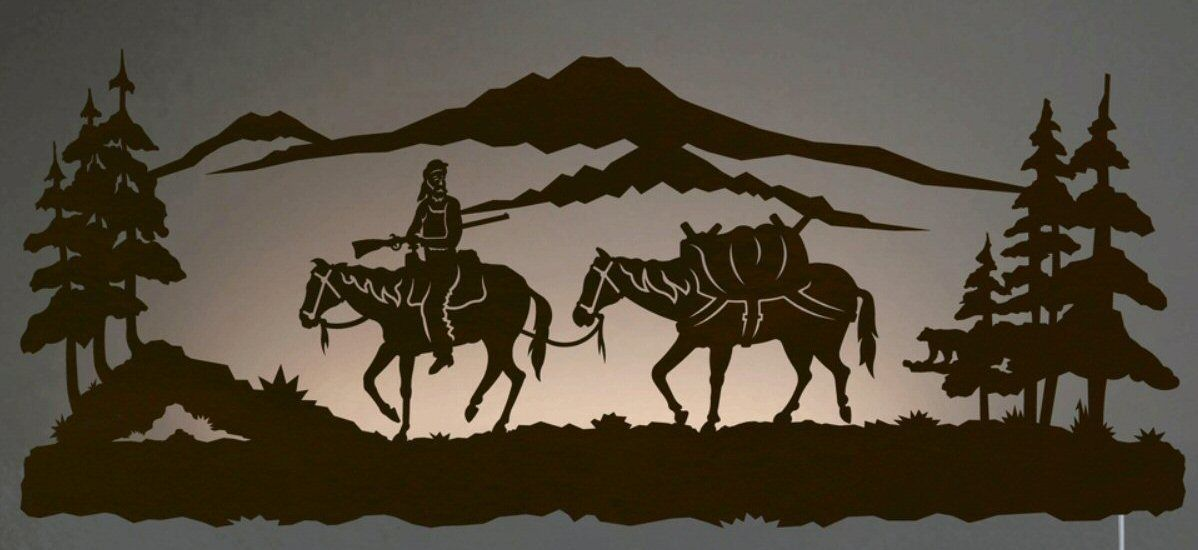 42 Mountain Man Riding Horse Led Back Lit Lighted Metal Wall Art
