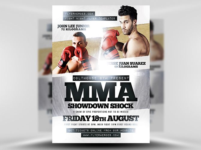 Mma Showdown Shock Psd Flyer Template   Flyer Templates