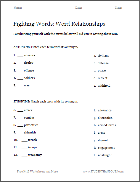 fighting words war writing worksheets great for familiarizing junior and senior high school. Black Bedroom Furniture Sets. Home Design Ideas