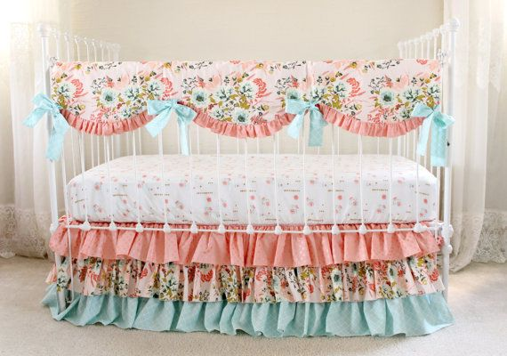 Floral Nursery Bedding Interesting Blush Pink Floral Crib Bedding Set Pink Coral Andlottiedababy 2018