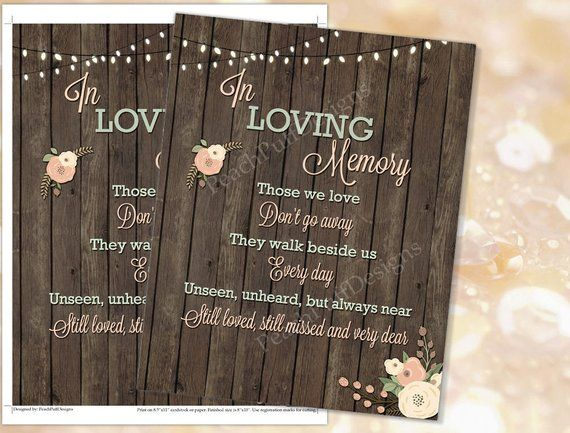 In loving memory sign (INSTANT DOWNLOAD) - Wedding signs