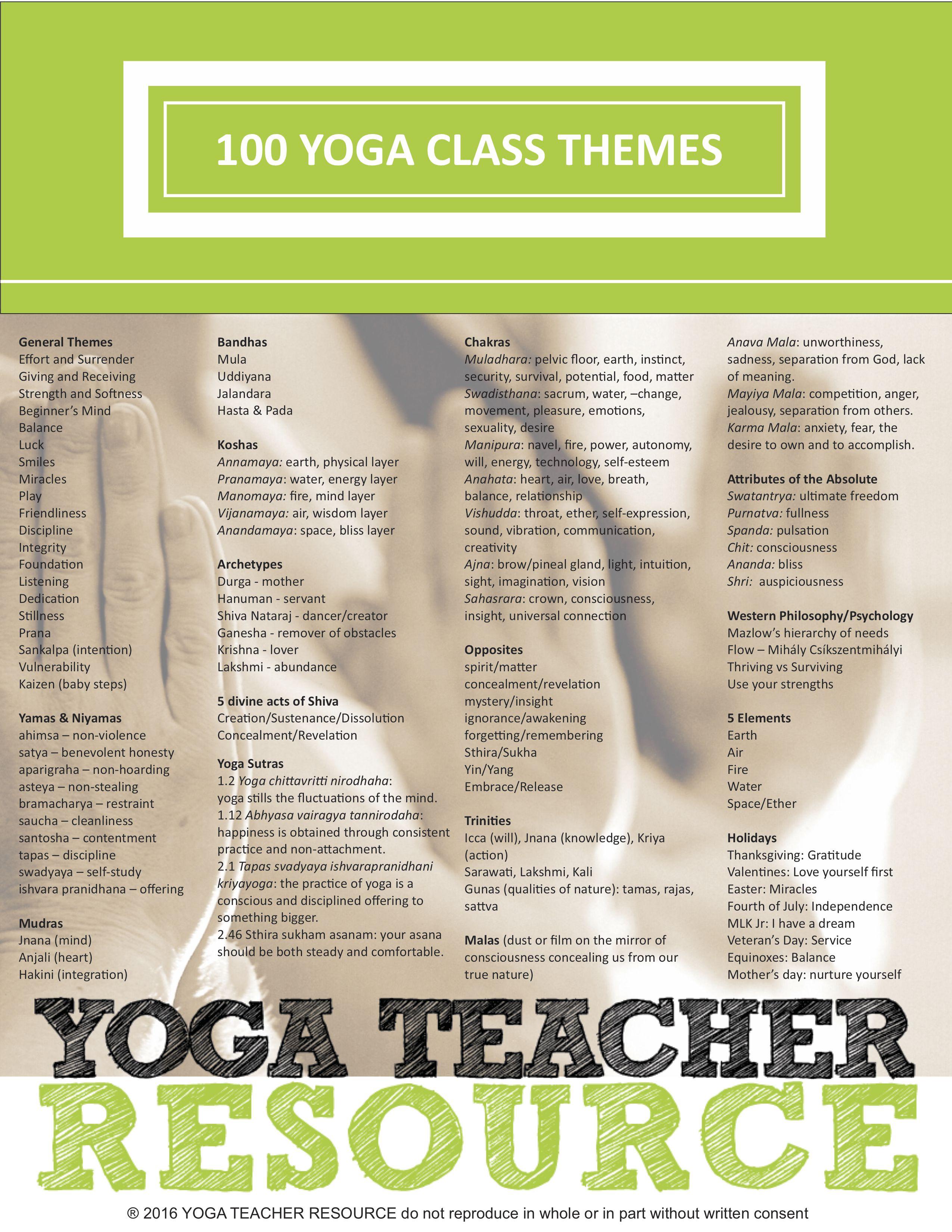 100 Yoga Class Themes Yoga Yoga Yoga Poses Lesson Plans
