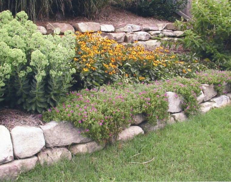 Dry Stack Boulder Rock Flower Bed | River Rock Stone Wall Terraces  Perennials Rustic Boulder Terraced