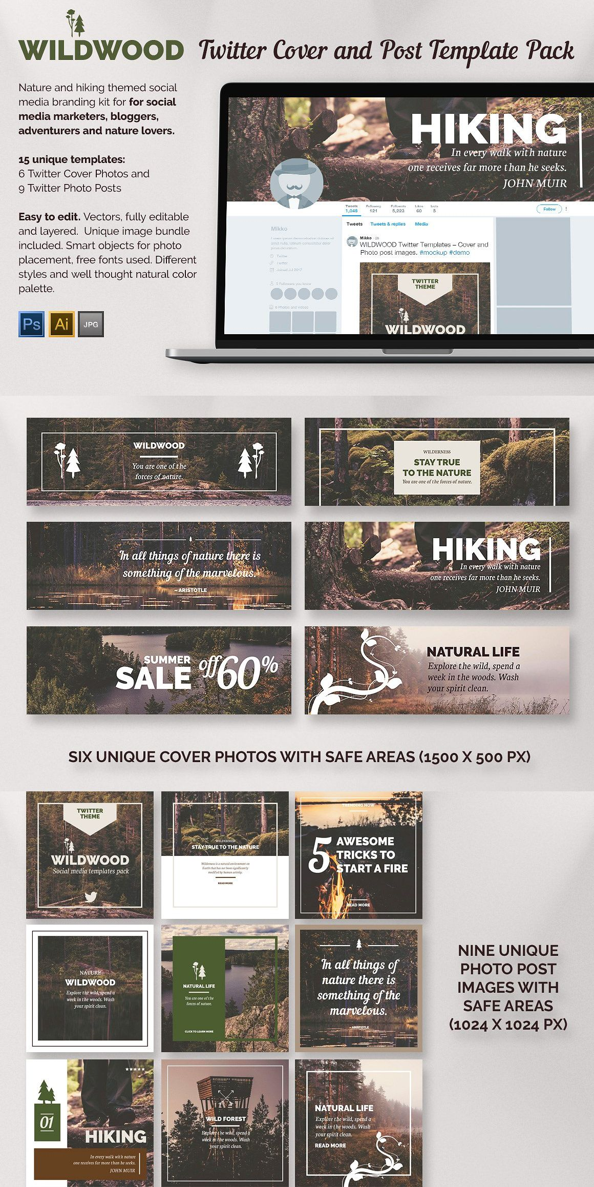 wildwood twitter templates pack psd social media templates