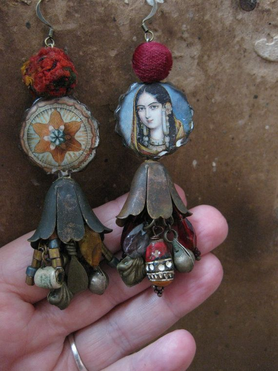 Mistress of Spices - Rustic Tribal Mixed Media Asymmetrical Assemblage Dangle Earrings with Ceramic Decal Art Beads.