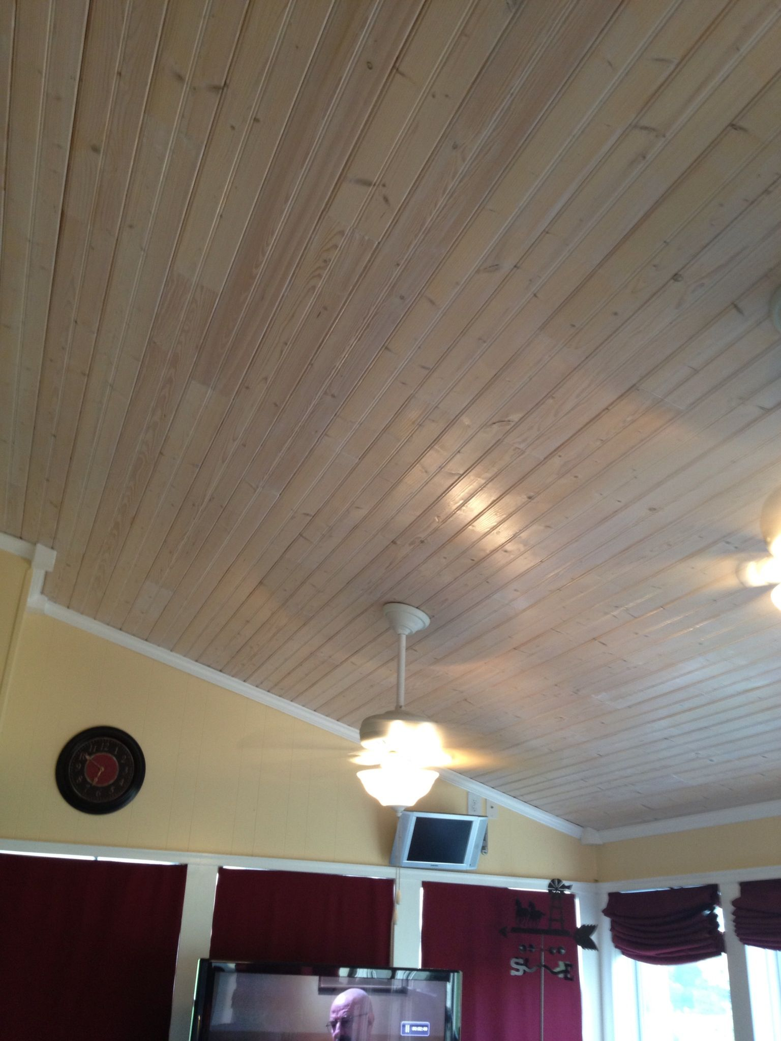 Pickled Pine Ceiling In Our Sunroom In 2019 Ceiling
