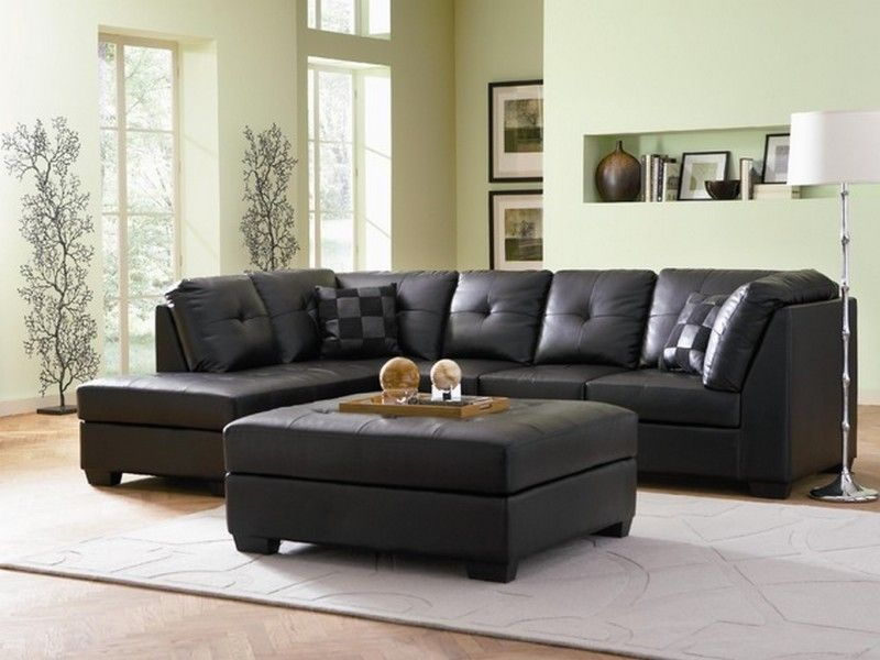 Elegant Attractive Decor Living Room To Black Leather Sectional Sofa With Green  Wall Paint Color And White Large Rugs Under Coffee Table Also Using Floor  Lamps