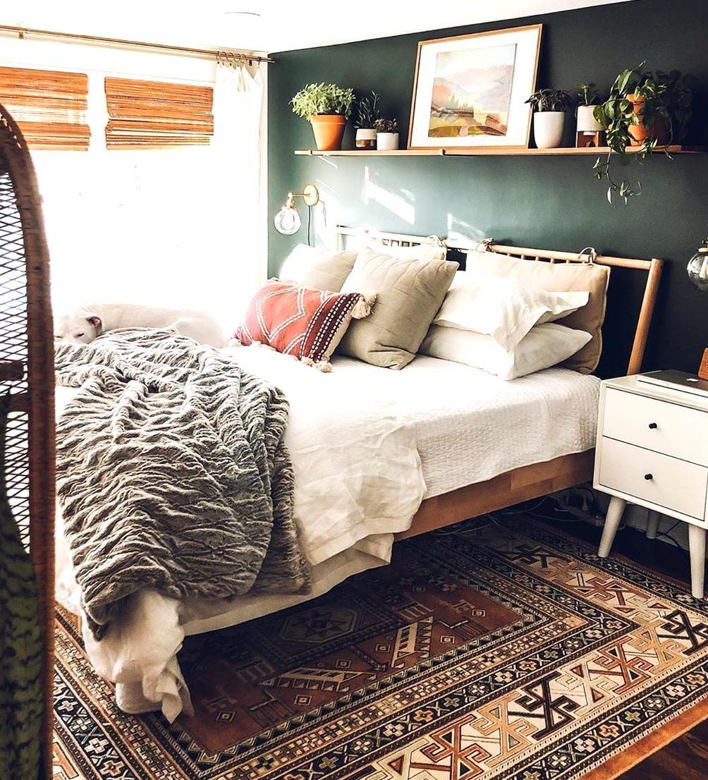 Sherwin Williams Rookwood Shutter Green accent wall bedroom dark green moody ikea Bjorksnas mid cent