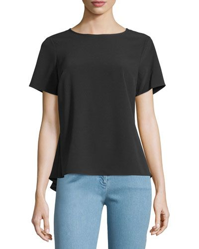 MICHAEL MICHAEL KORS Short-Sleeve Zip Peplum Top, Black. #michaelmichaelkors #cloth #top