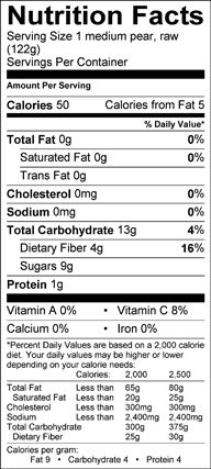 Nutrition Facts Label For Asian Pears Nutrition Facts Nutrition Labels Nutrition