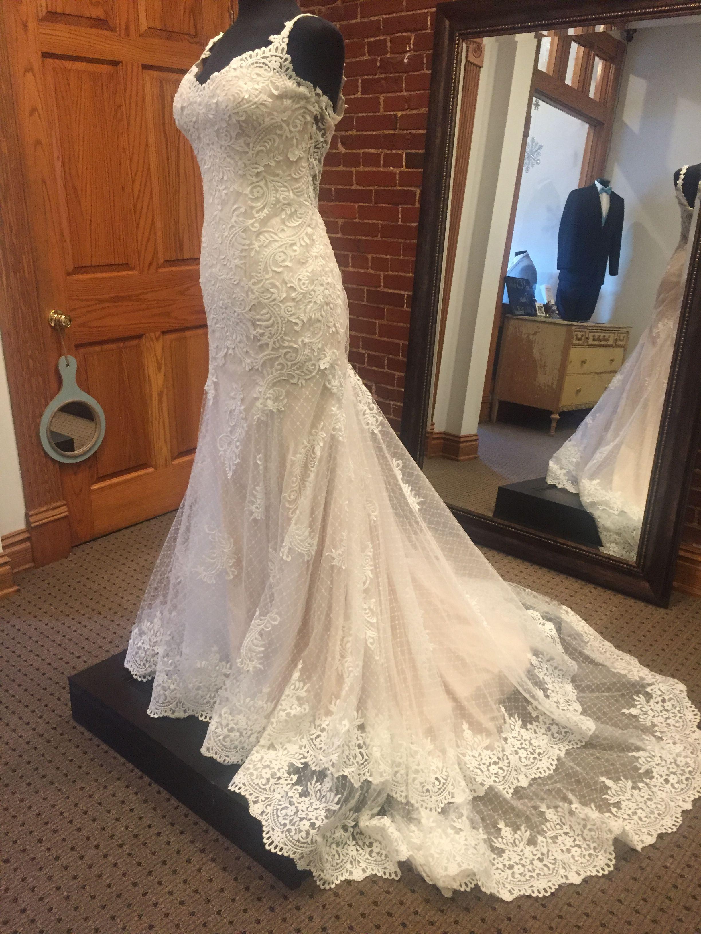 Lace keyhole back wedding dress  Stunning wedding gown with lace straps and keyhole back  Wedding
