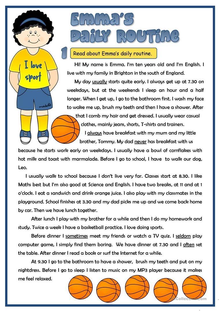 Emma\'s daily routine - reading worksheet - Free ESL printable ...