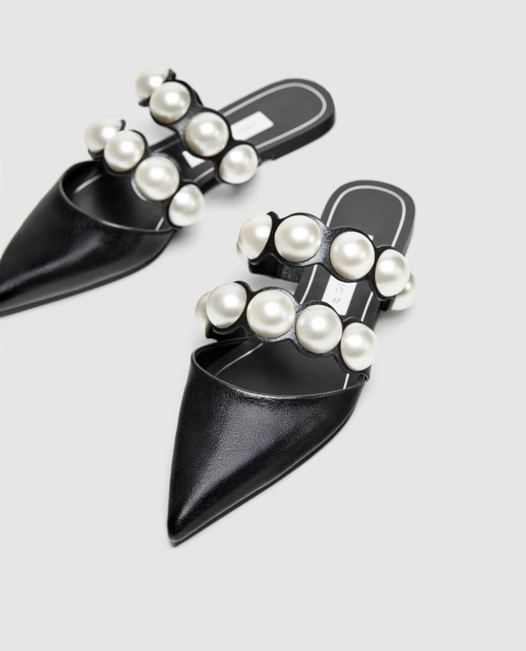 f9ece9c4066 Image 3 of FLAT MULES WITH PEARL BEADS from Zara