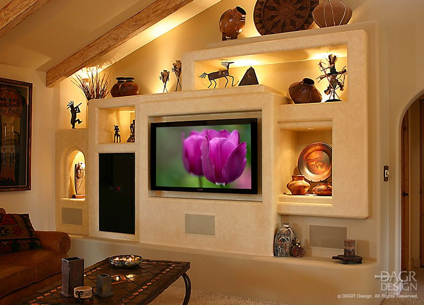 fetching sheetrock entertainment center. Contemporary Southwest style custom media wall home entertainment center  with multiple niches and lighting for The Best 100 Cosy Drywall Entertainment Centers Image Collections