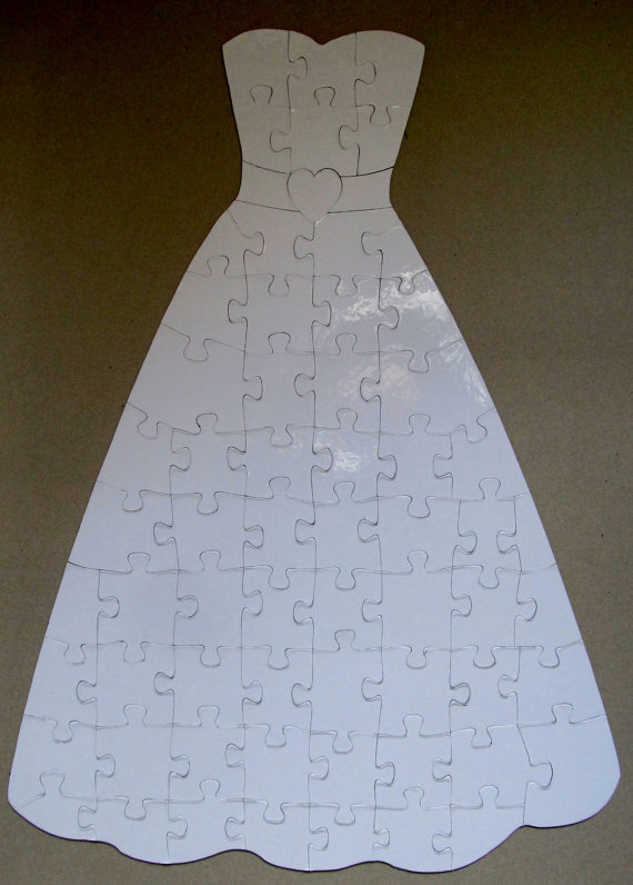 31046b79f39 Wedding Dress Shaped Guest Book Puzzle   Blank White Puzzle Pieces ...