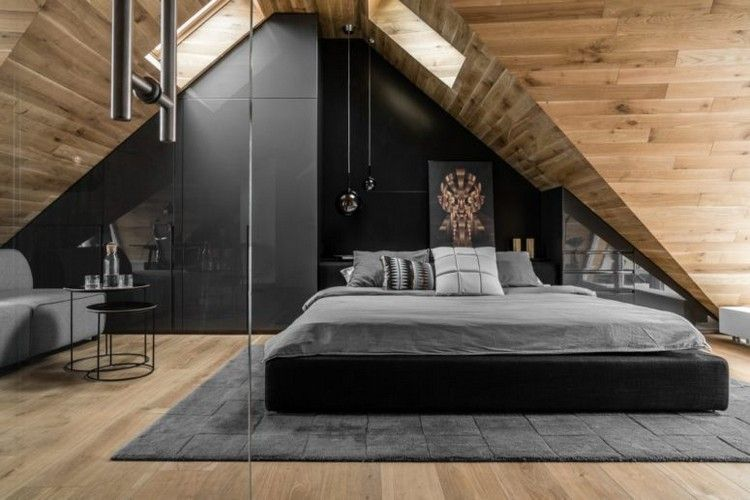 Le Lambris Plafond Bois Dans Une Chambre A Coucher Ultra Moderne