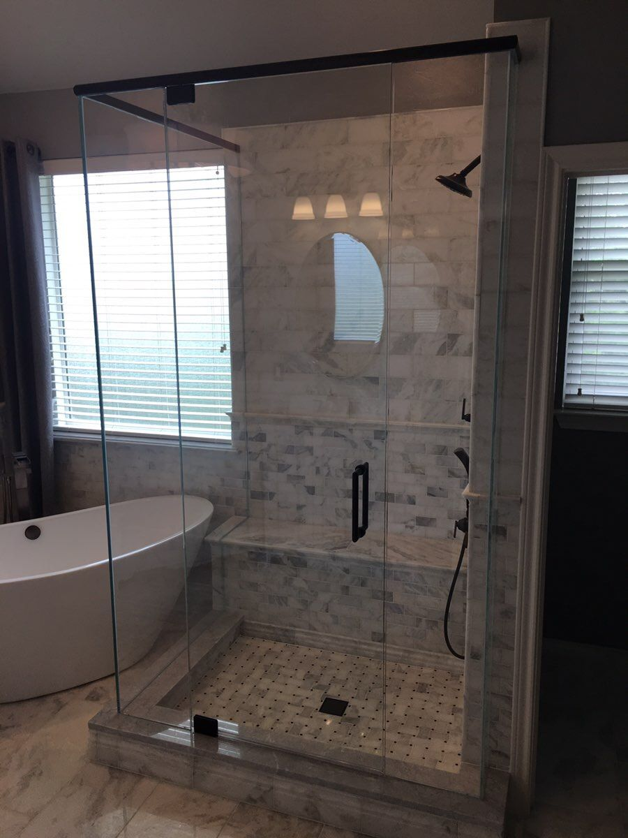 Frameless Shower Enclosure With A Door 4 Panels Pivot Hinges