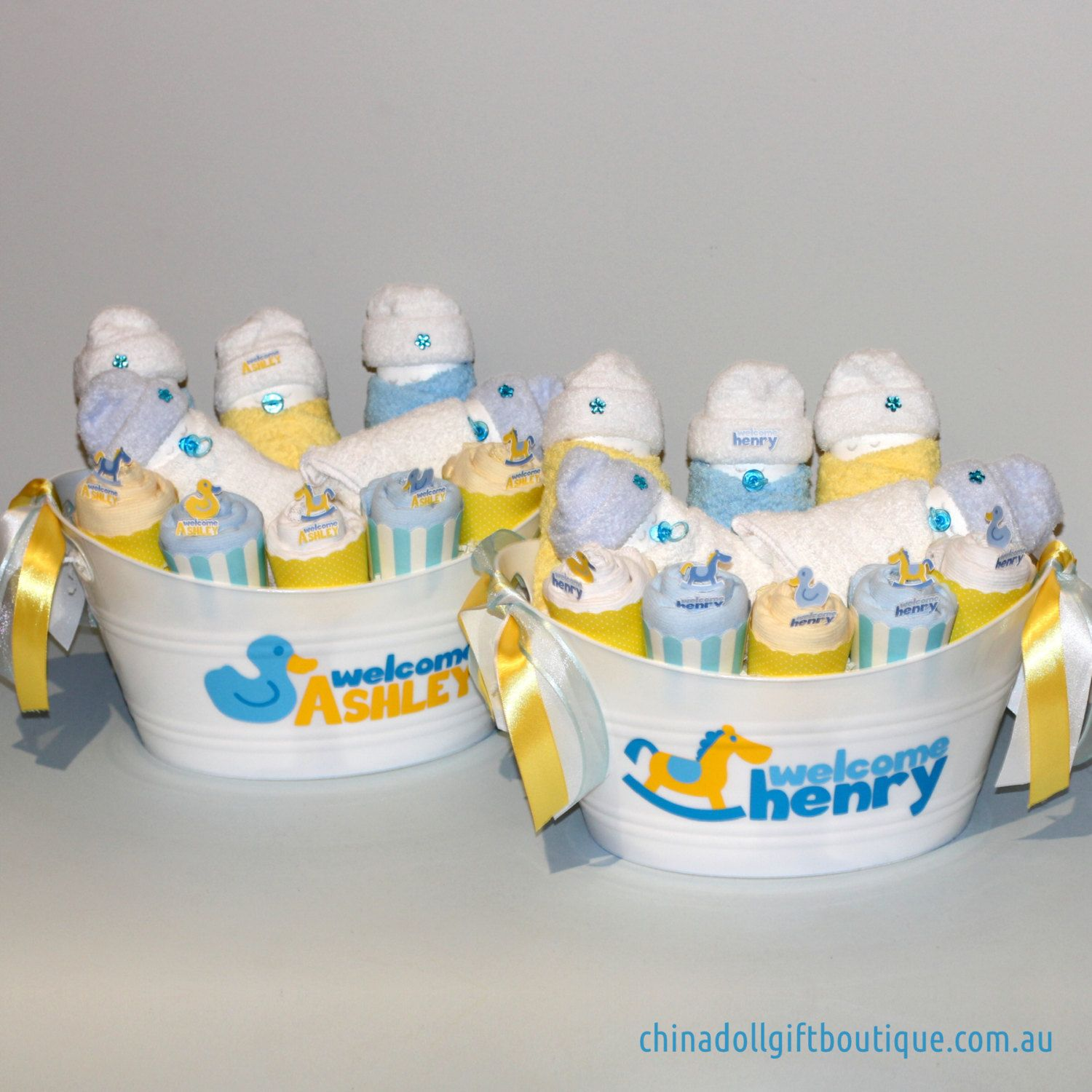 twin baby shower gift baskets personalised baby boys