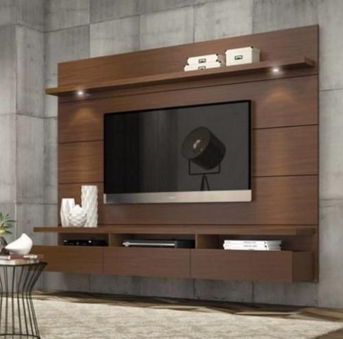 Entertainment Center Modern Tv Stand Media Console Wall Mounted Furniture Brown Entertainmentc
