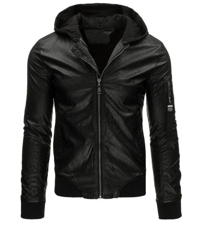 Čierna pánska koženková bunda typu bomber. Zapínanie na lesklý zips.  Odnímateľná kapucňa vyrobená z bf3fc9276ec