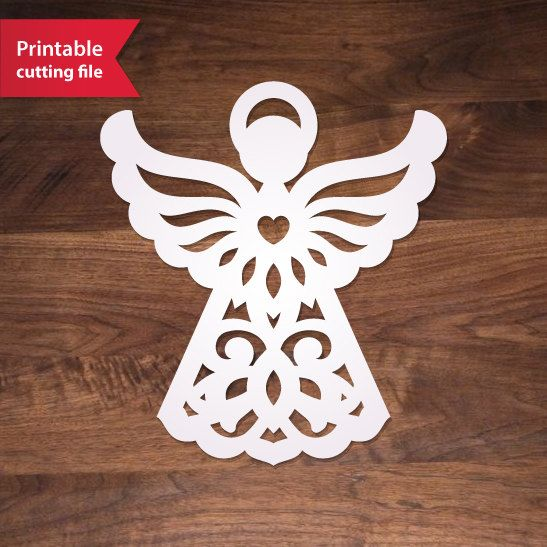Paper cut angel template diy printable angel by for Angel tree decoration template