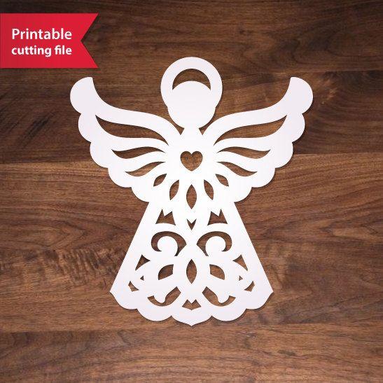 Paper Cut Angel Template Diy Printable Vector File Decoration