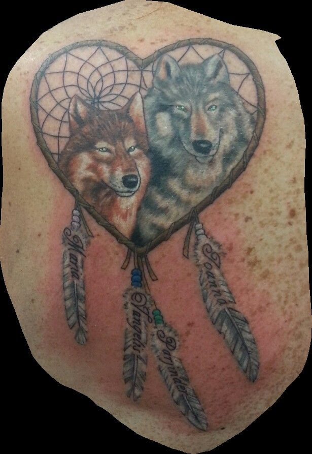 Wolf Dreamcatcher With Kids And Grandkids Names With Birthstone Colors In The Beads Wife Tattoo Mom Tattoos Foot Tattoos