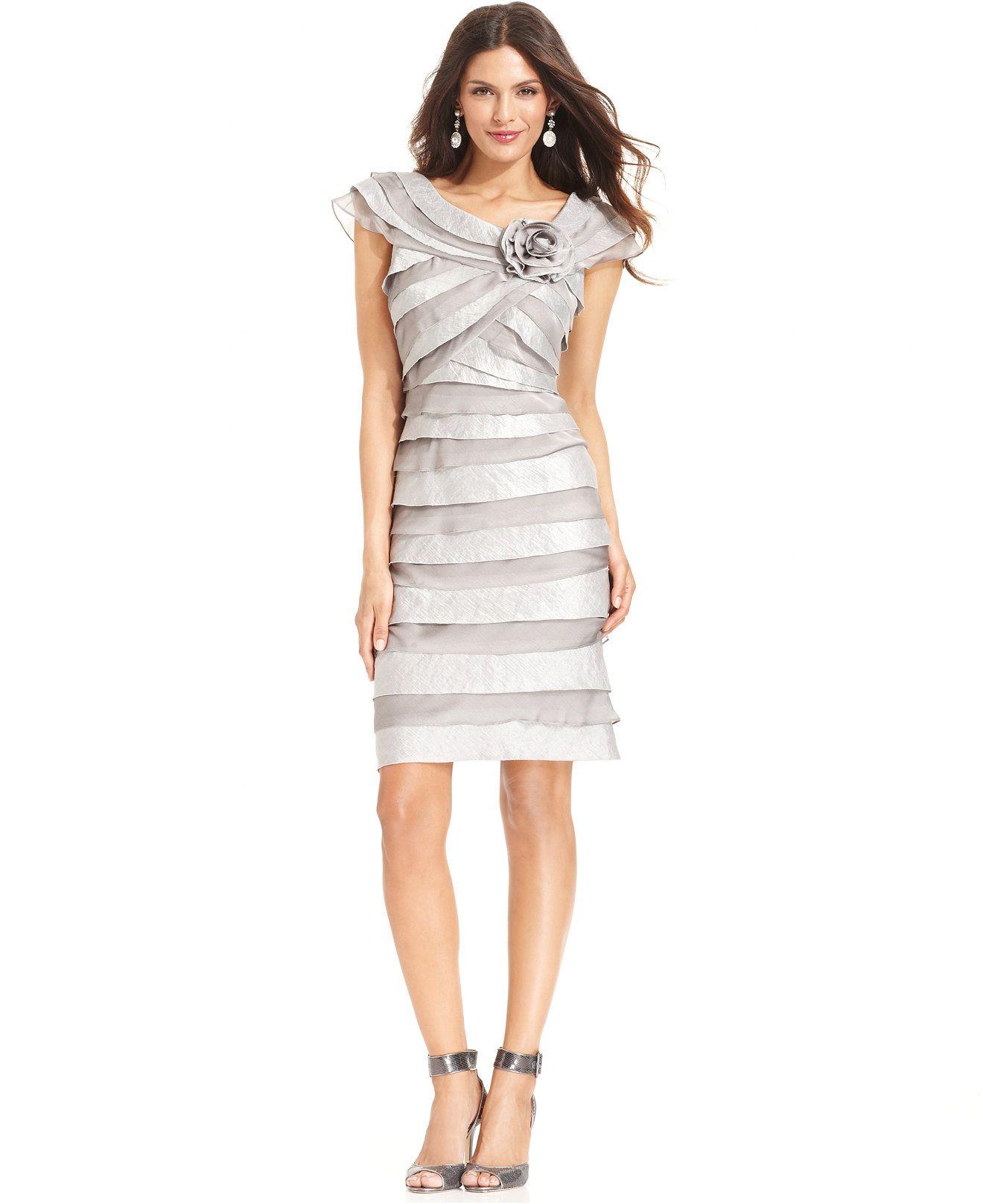 Macys womens dresses wedding  London Times CapSleeve Tiered Rosette Dress  Dresses  Women
