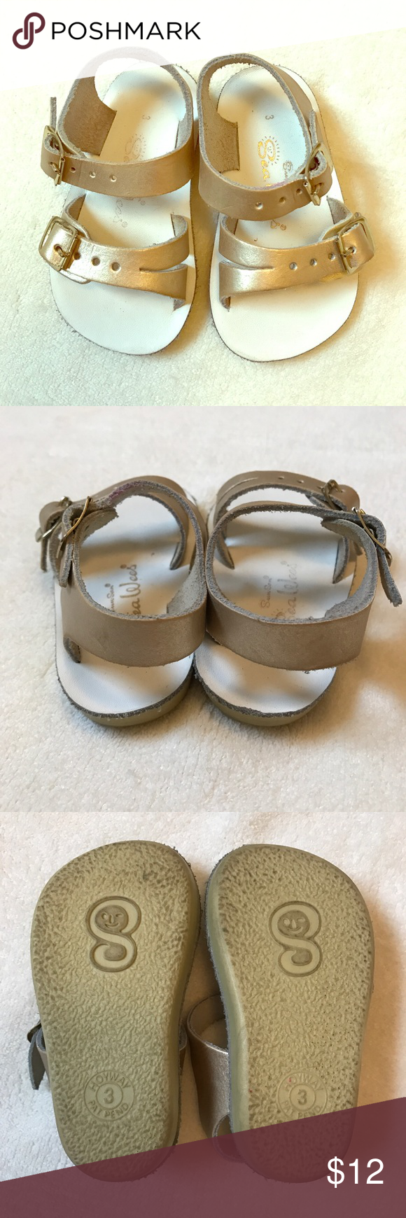 Gold Saltwater Sandal Toddler Girl Great little sandals for your little one! Comfy and water proof. Great condition! Size 3. Salt Water Sandals by Hoy Shoes Sandals & Flip Flops