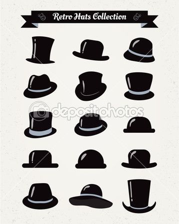Hipster Retro Hats Vintage Icon Set Vintage Icons Retro Hats Hats Vintage