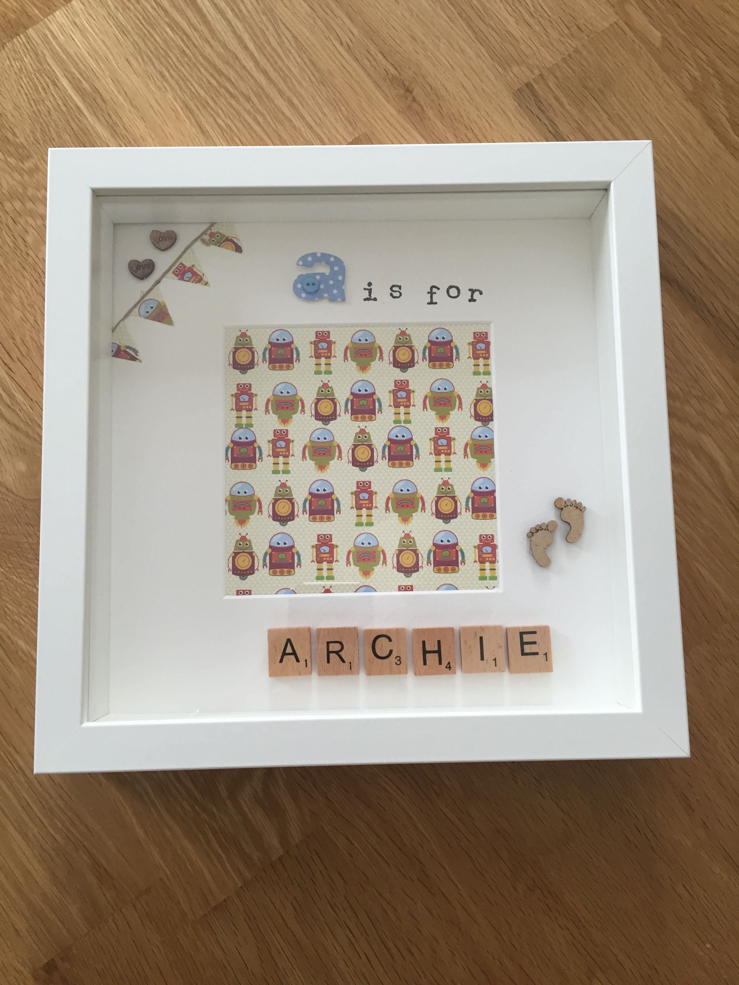 A is for Archie - memory frame / scrabble letters / personalised ...