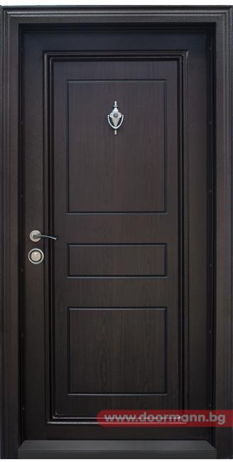 Classical Wooden Single Door Designs For Room: Блиндирана входна врата - Код T505, Цвят Тъмен орех
