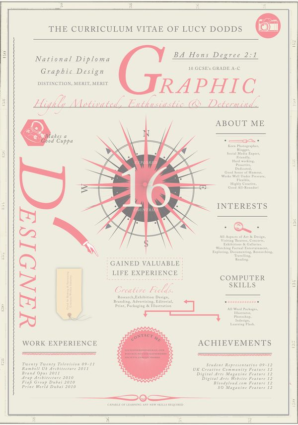 resume curriculum vitae by lucy dodds  via behance