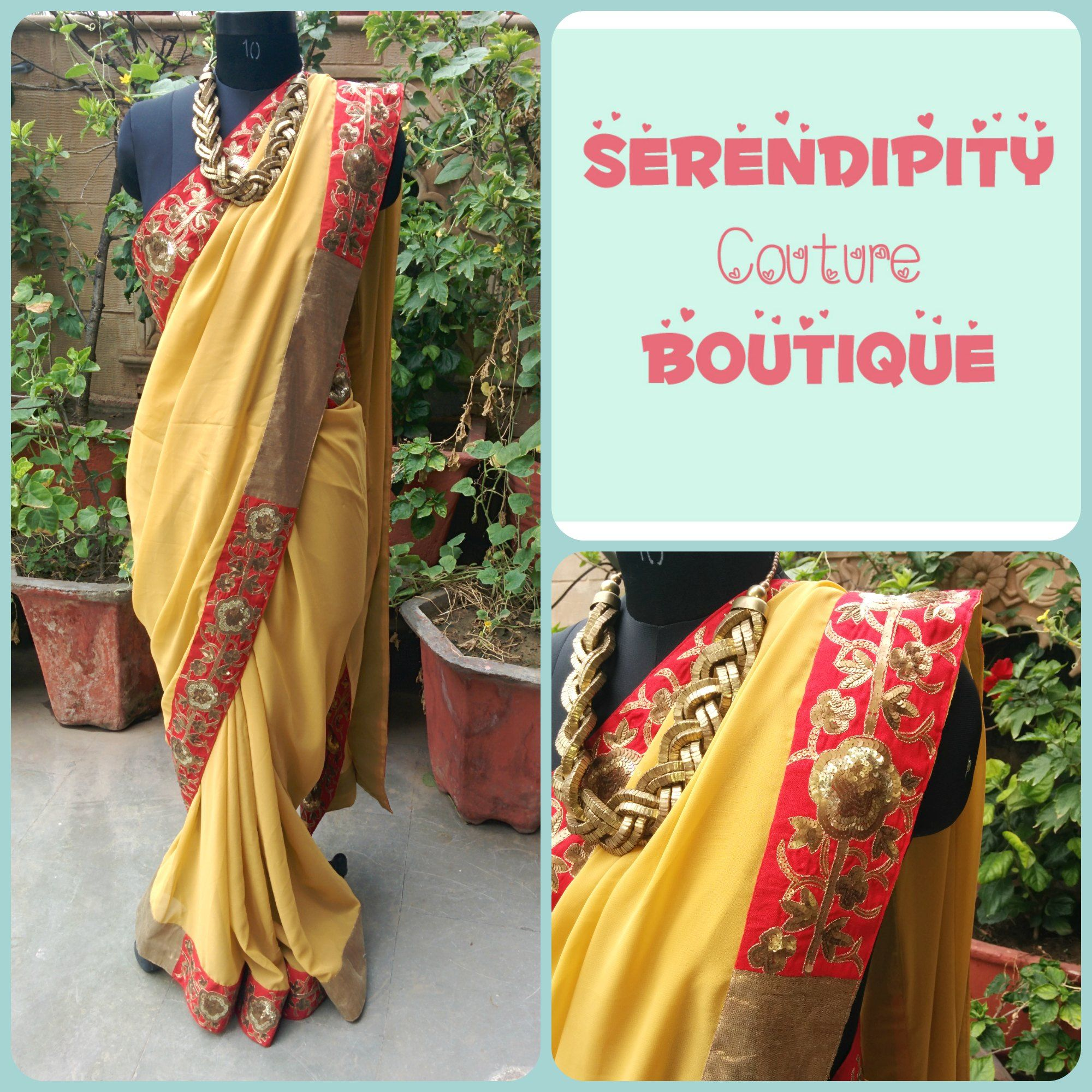 A antique gold sequin hand done embroidery border sari Code: SR 3101 Price: INR 8000  Cash on delivery available!  To order, kindly drop us a message here on our page, inbox us, or email us at serendipity.kanika@gmail.com or whatsapp us at +91-8527605220 Love,  SCB