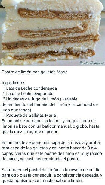 Postre De Limón Con Galletas Maria Postre De Limon Y Galletas Marias Recetas Faciles Postres Postres Con Galletas Maria