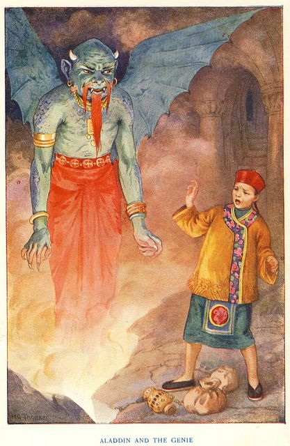 Aladdin And The Genie Arabian Nights Night Illustration Vintage Illustration Art