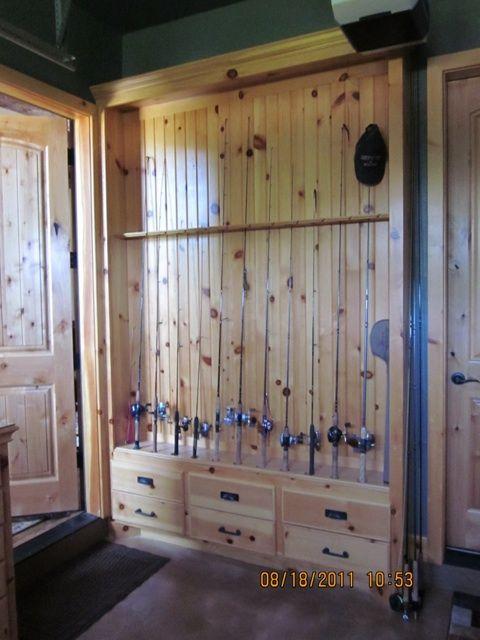 fishing pole rack knotty pine work pics stuff i. Black Bedroom Furniture Sets. Home Design Ideas