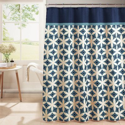 Bath Studio Diamond Weave Textured Shower Curtain Set Color Blue