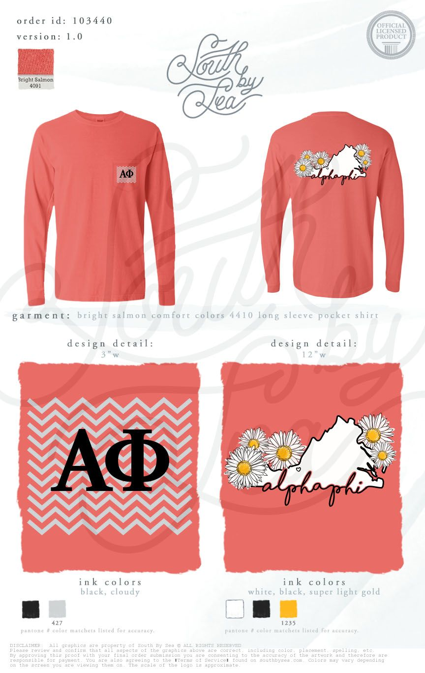 Alpha Phi | Floral Design | Chevron Design | Home State T Shirt Design | Part 96