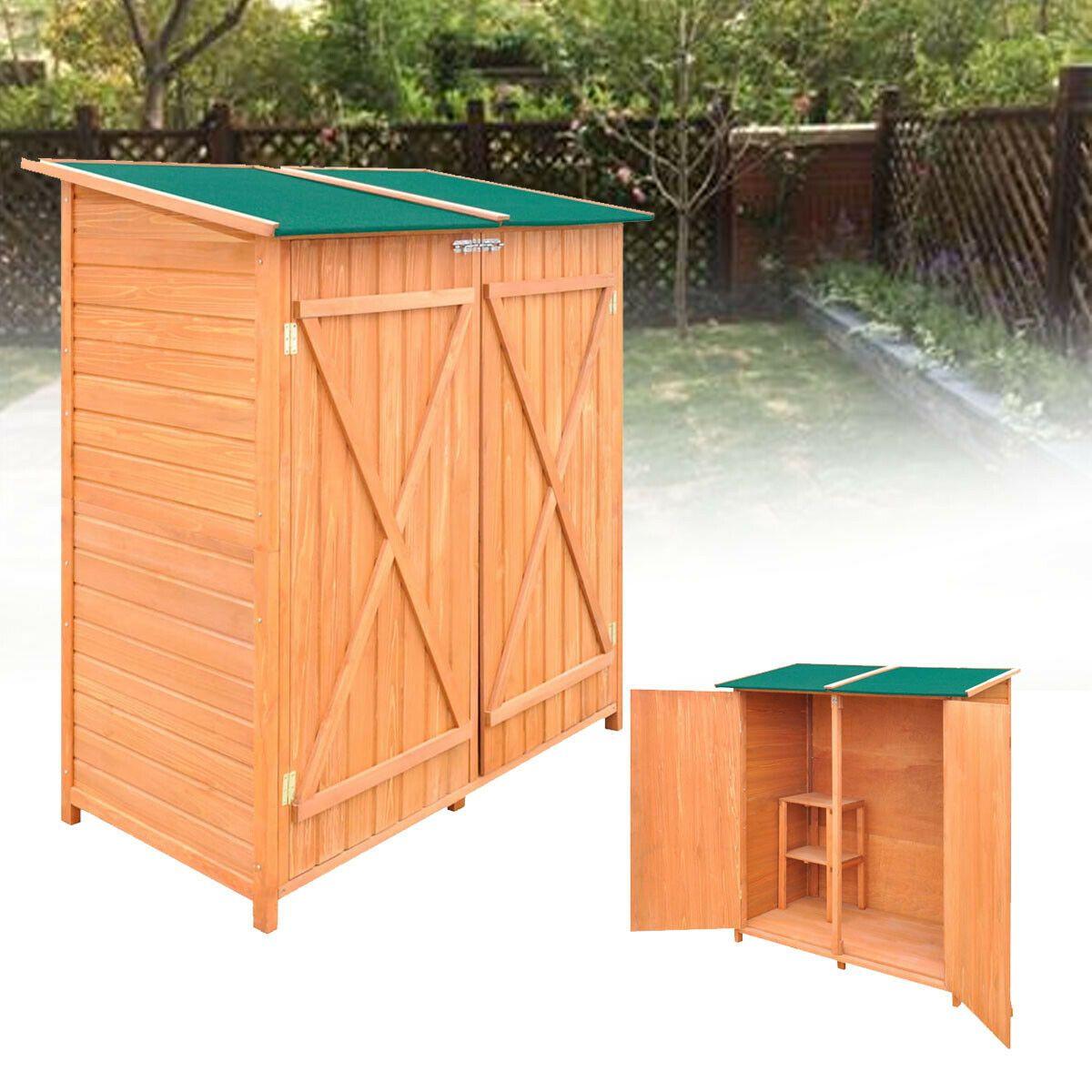 Wooden Storage Shed Cabinet Yard Garden Outdoor Utility Wood