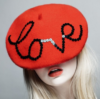 RED beret all glammed up! Love that!