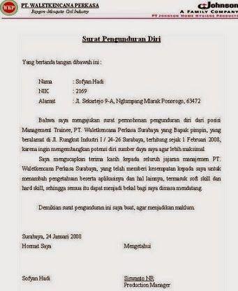 Contoh Surat Pengunduran Diri Untuk Disnaker - Kumpulan ...