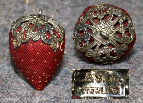 sewing emery strawberry sterling silver antique silk chatelaine pincushion K&S