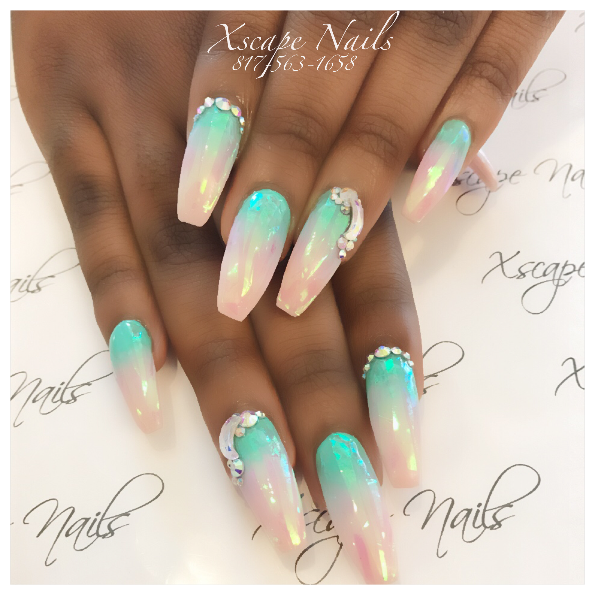 Ombr Shatter Glass Nails