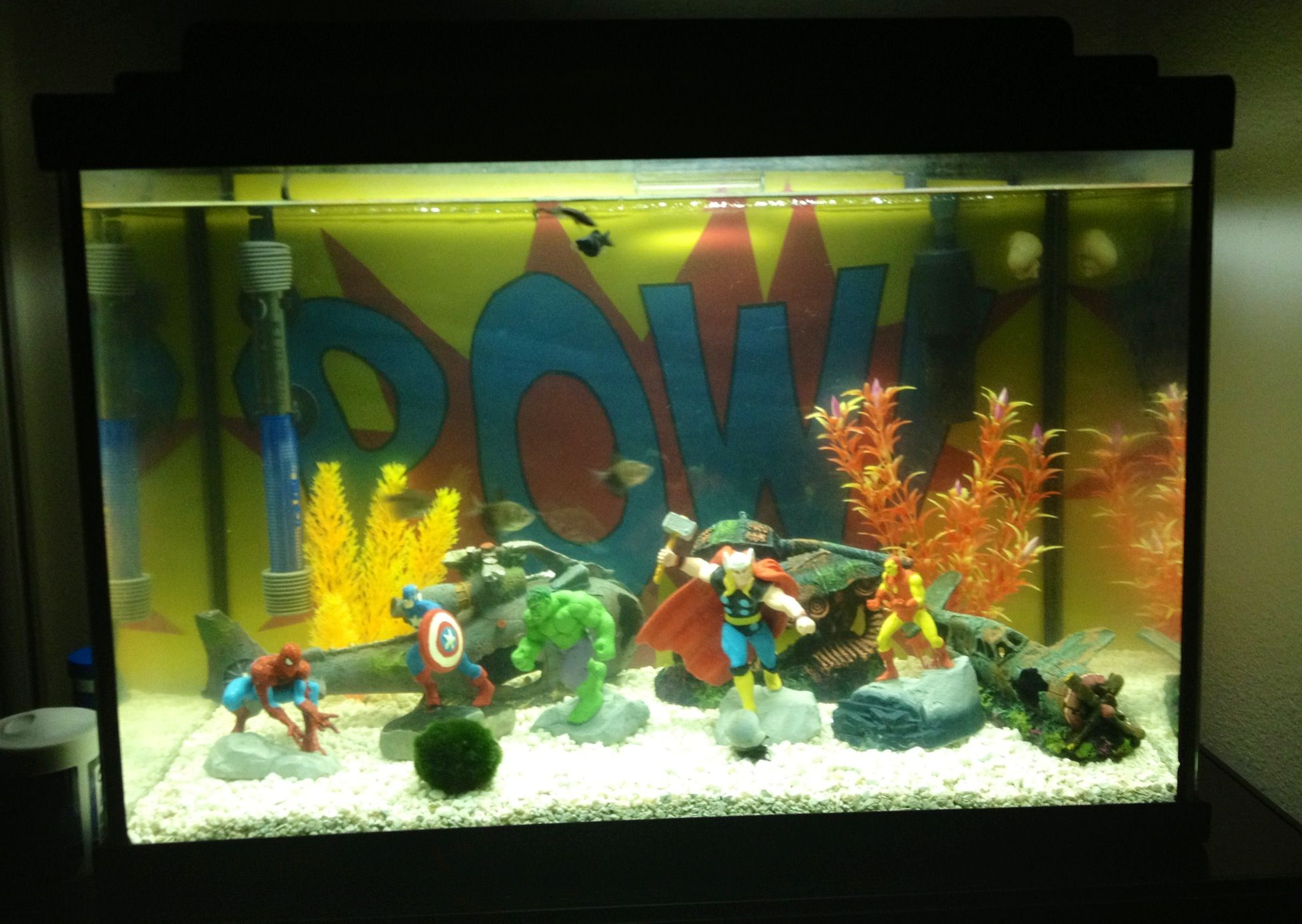superhero fish tank